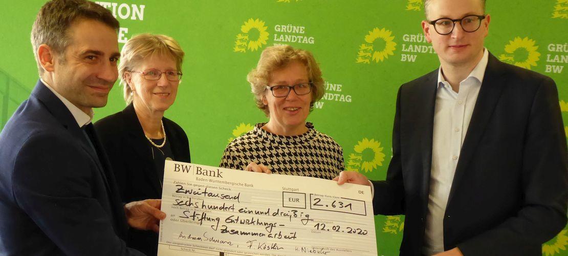 Spendenübergabe Grüne Inhalt